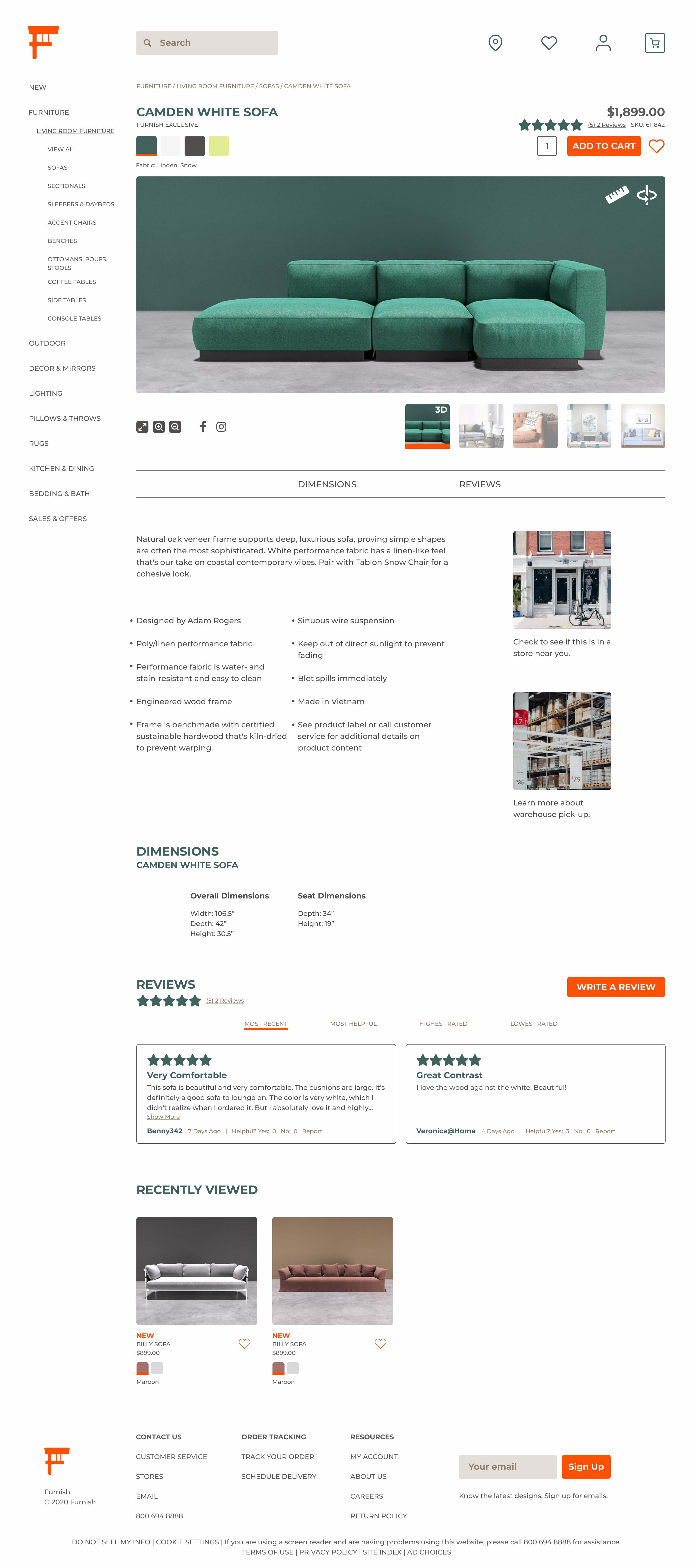 a high fidelity rendering of the Furnish Web App product description page