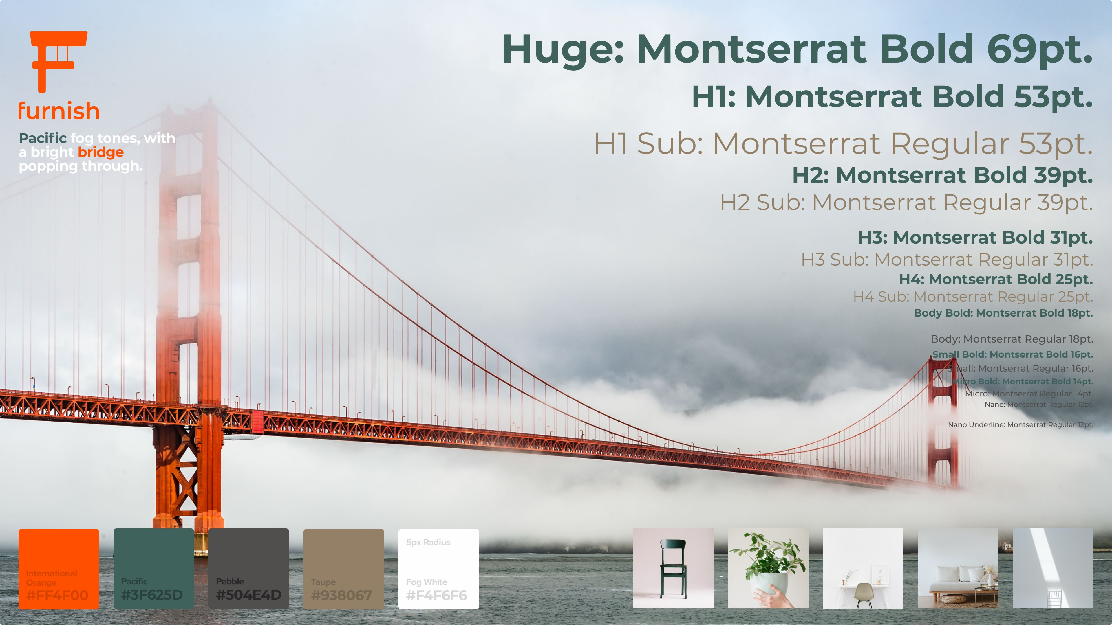 a style tile/ mood board for Furnish website featuring the golden gate bridge