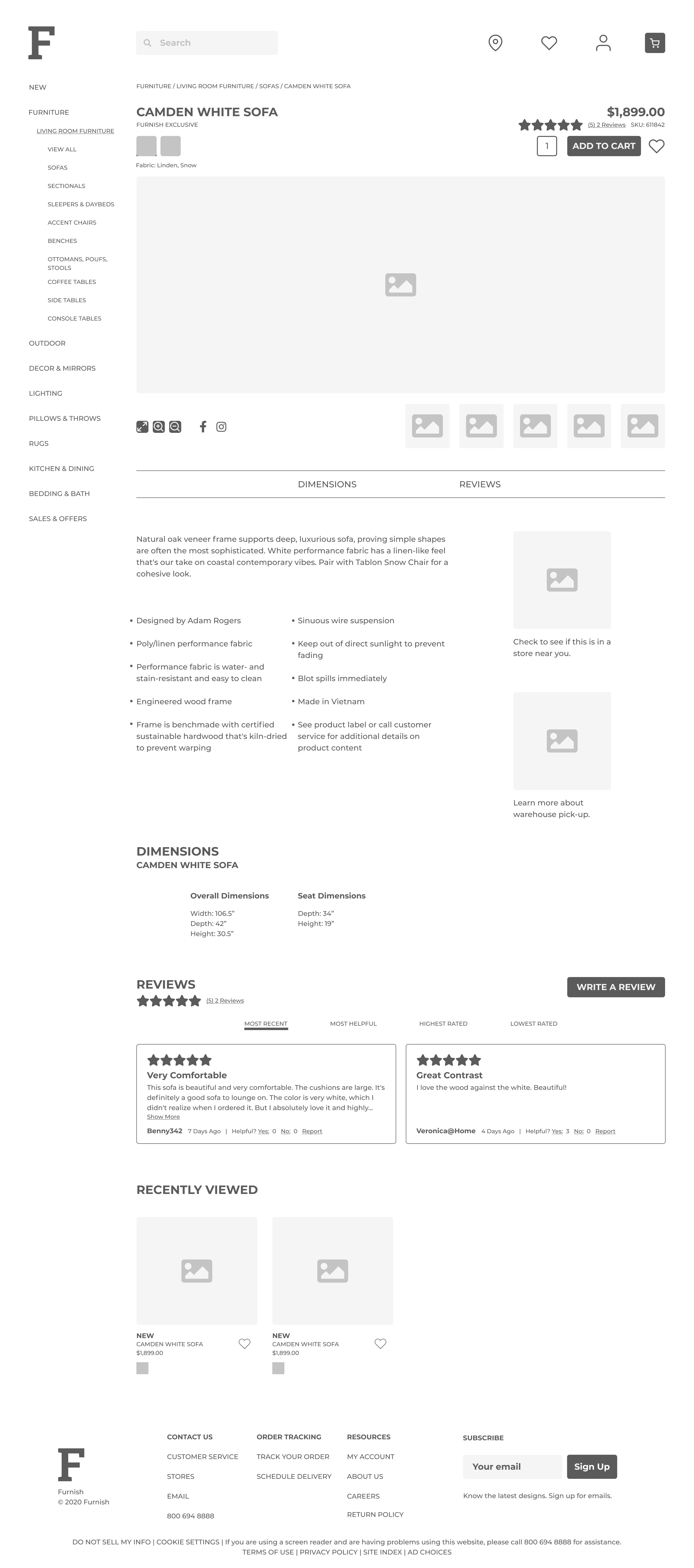 a wireframe for the furnish website showing the product page