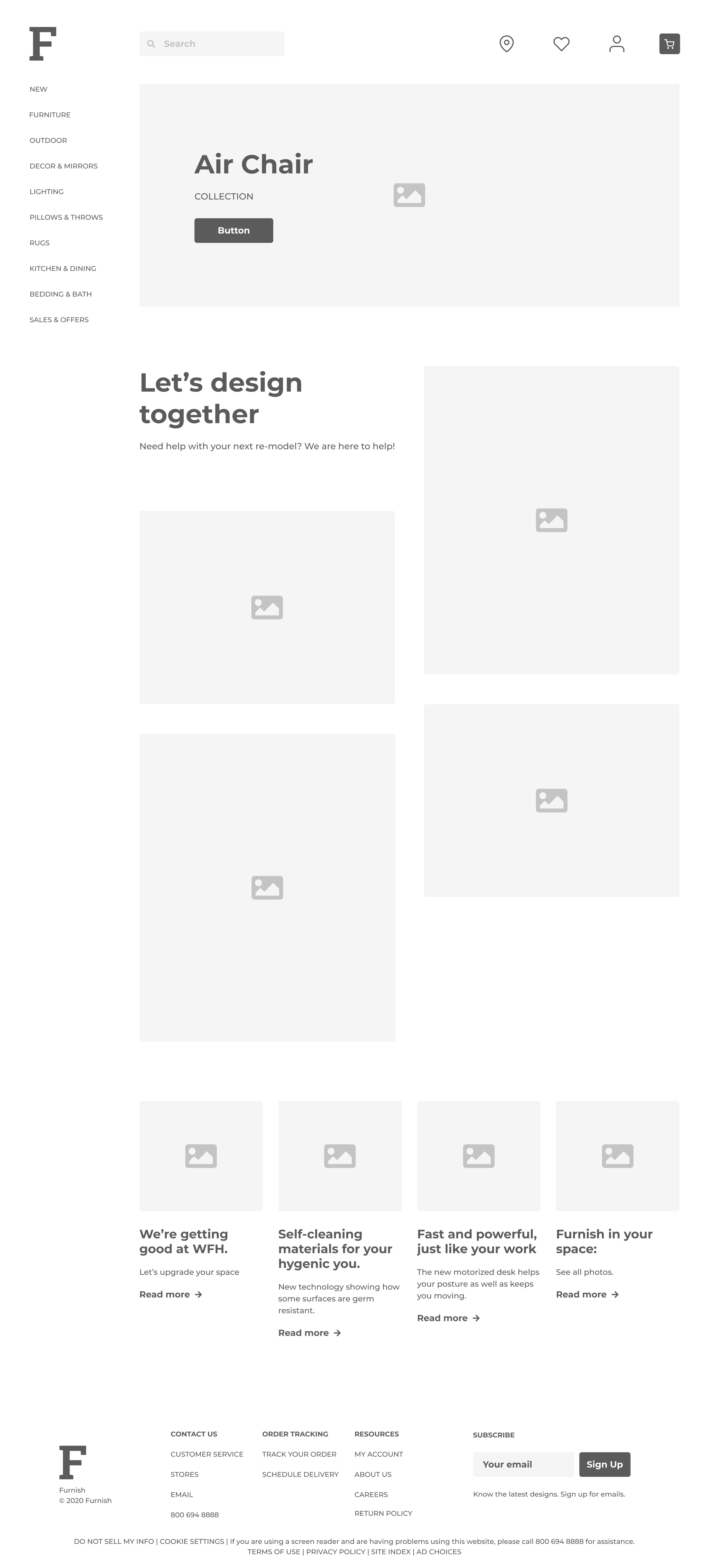 a wireframe of furnish web app splash page/ front page