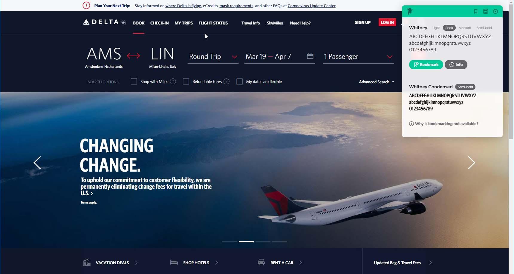 a screenshot of type ninja Delta website Whitney typeface