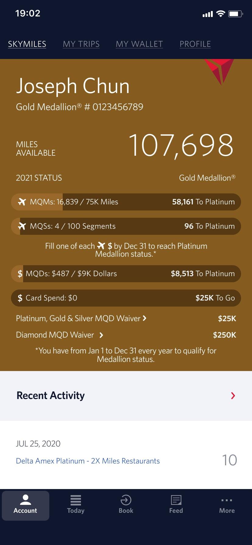 a screen shot of the current Delta App Skymiles screen