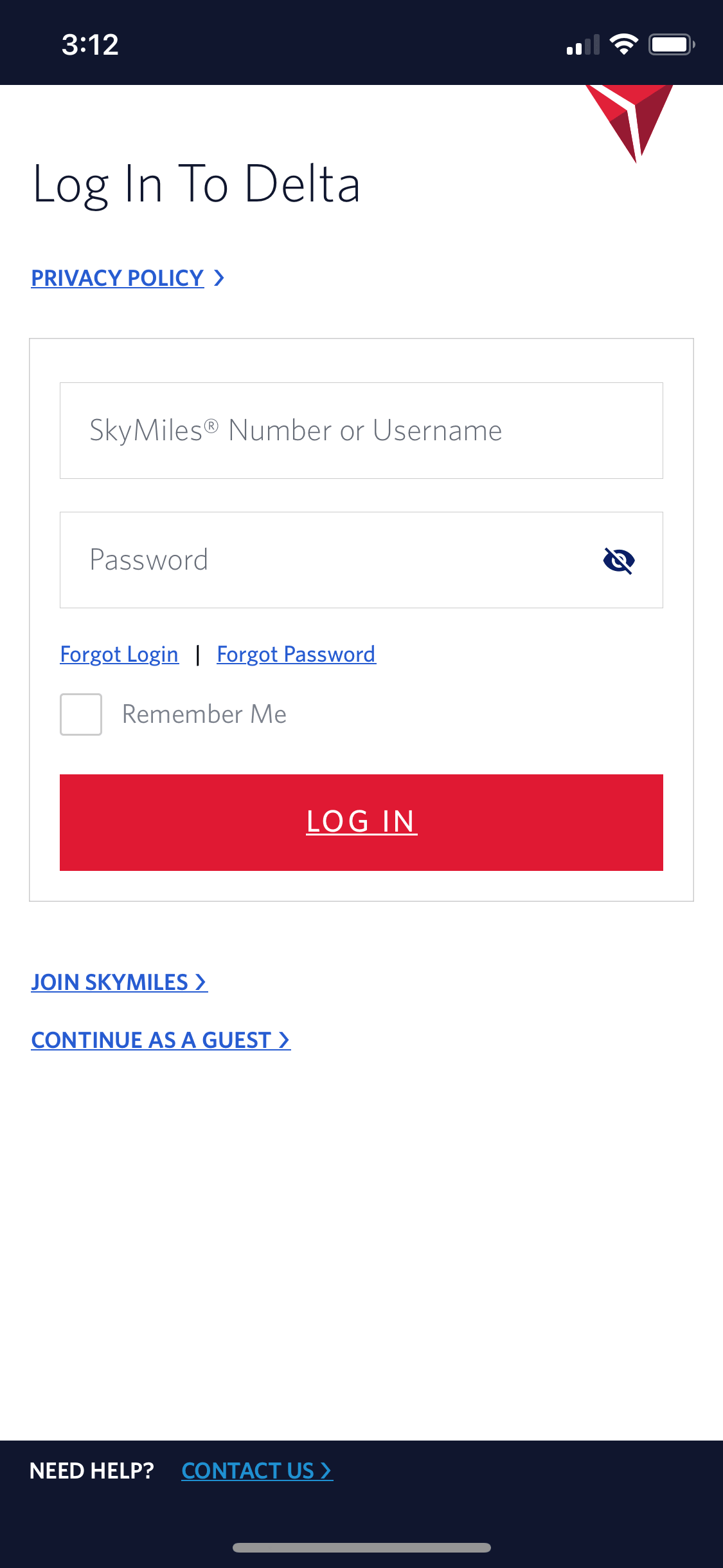 the current screenshot of the Delta App Login Page