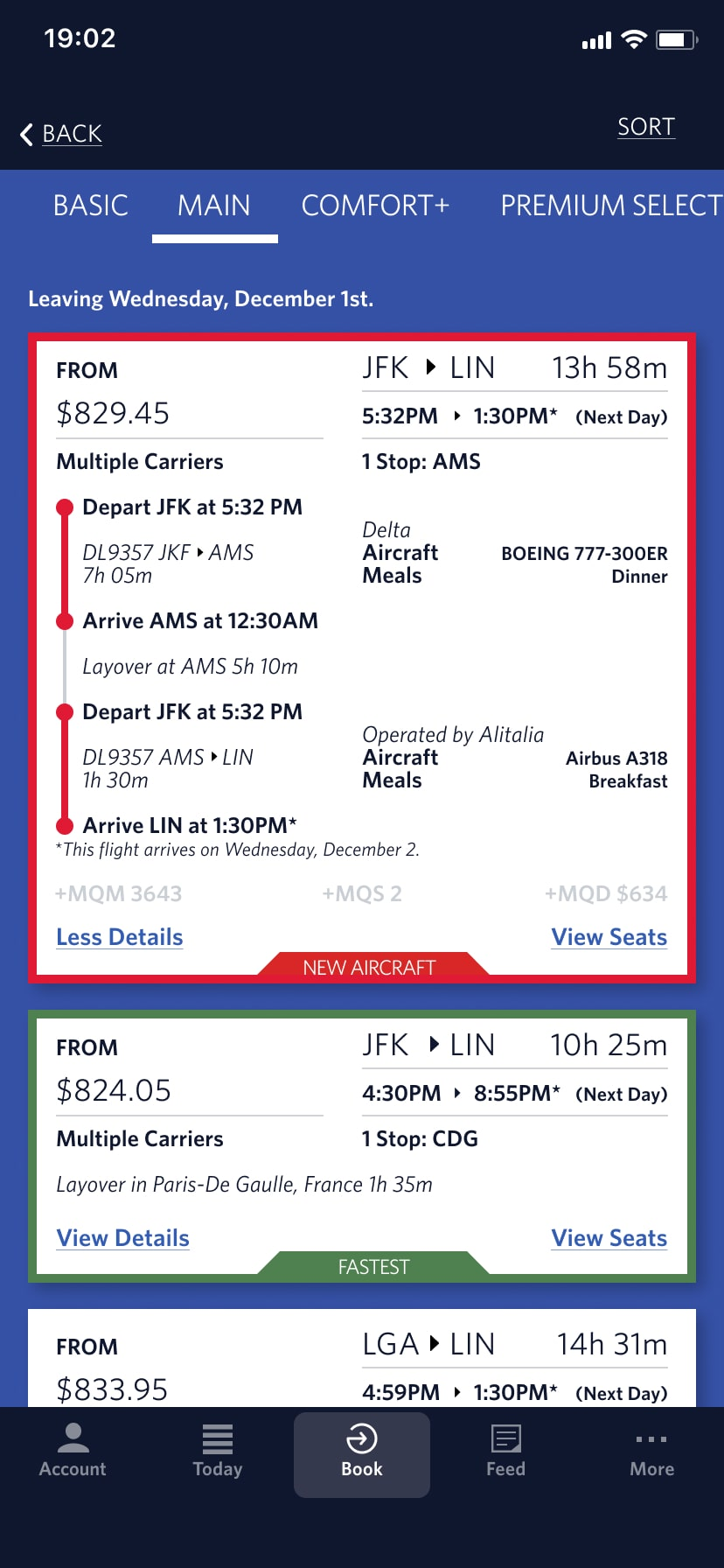 a redesigned screenshot of Delta Airlines Booking Details screen