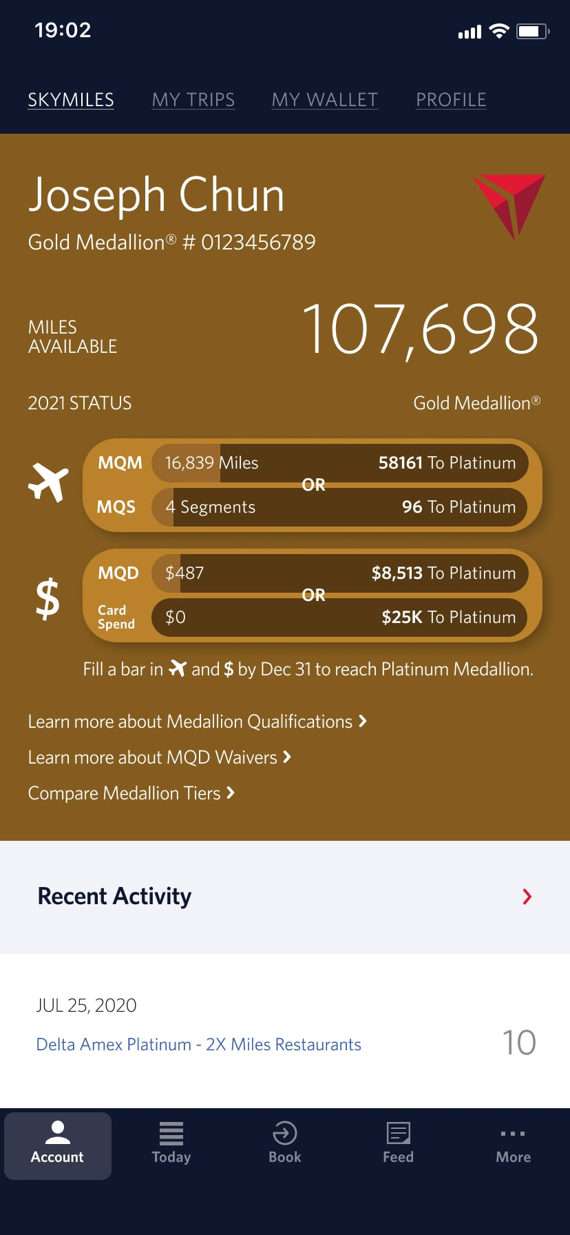 a screenshot of a redesigned Delta Airlines App Skymiles screen