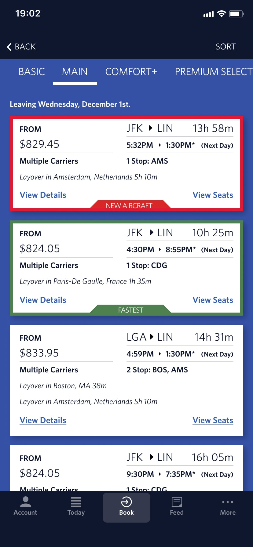 a screen shot of a redesigned delta airlines booking screen