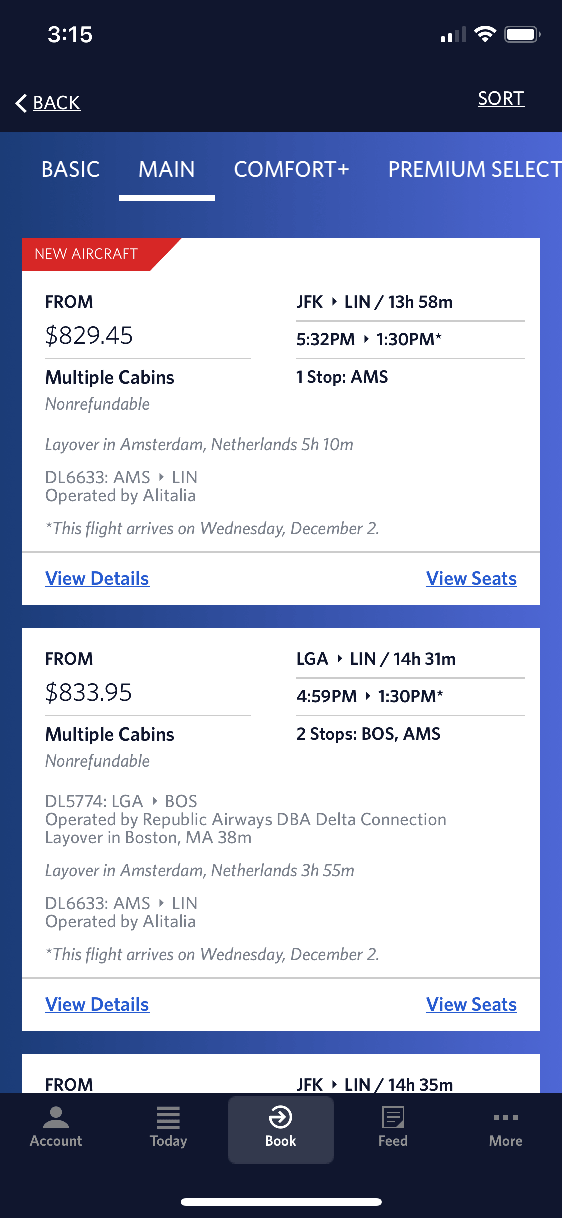 a screenshot of Delta Airlines current booking screen