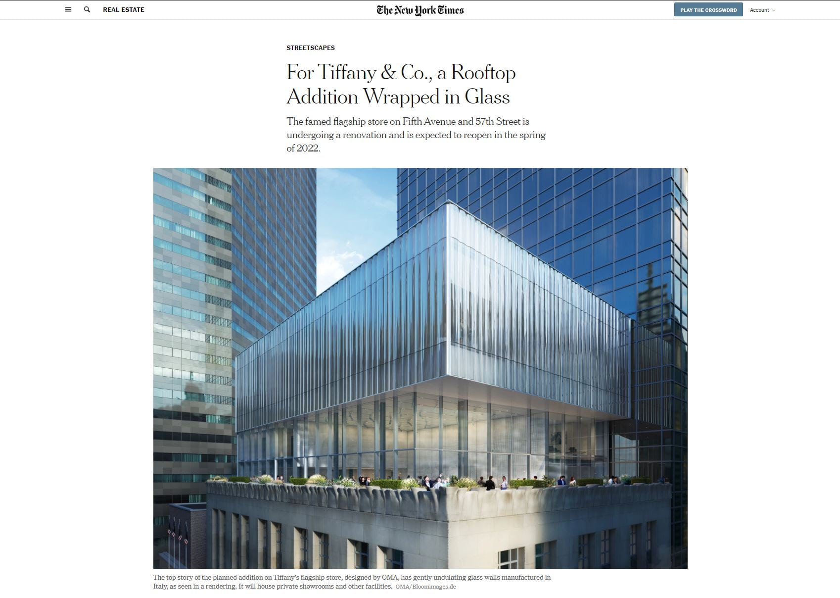 a screen shot of an article in the NYT of tiffany and Co's newest rendering of a glass addition to their flagship