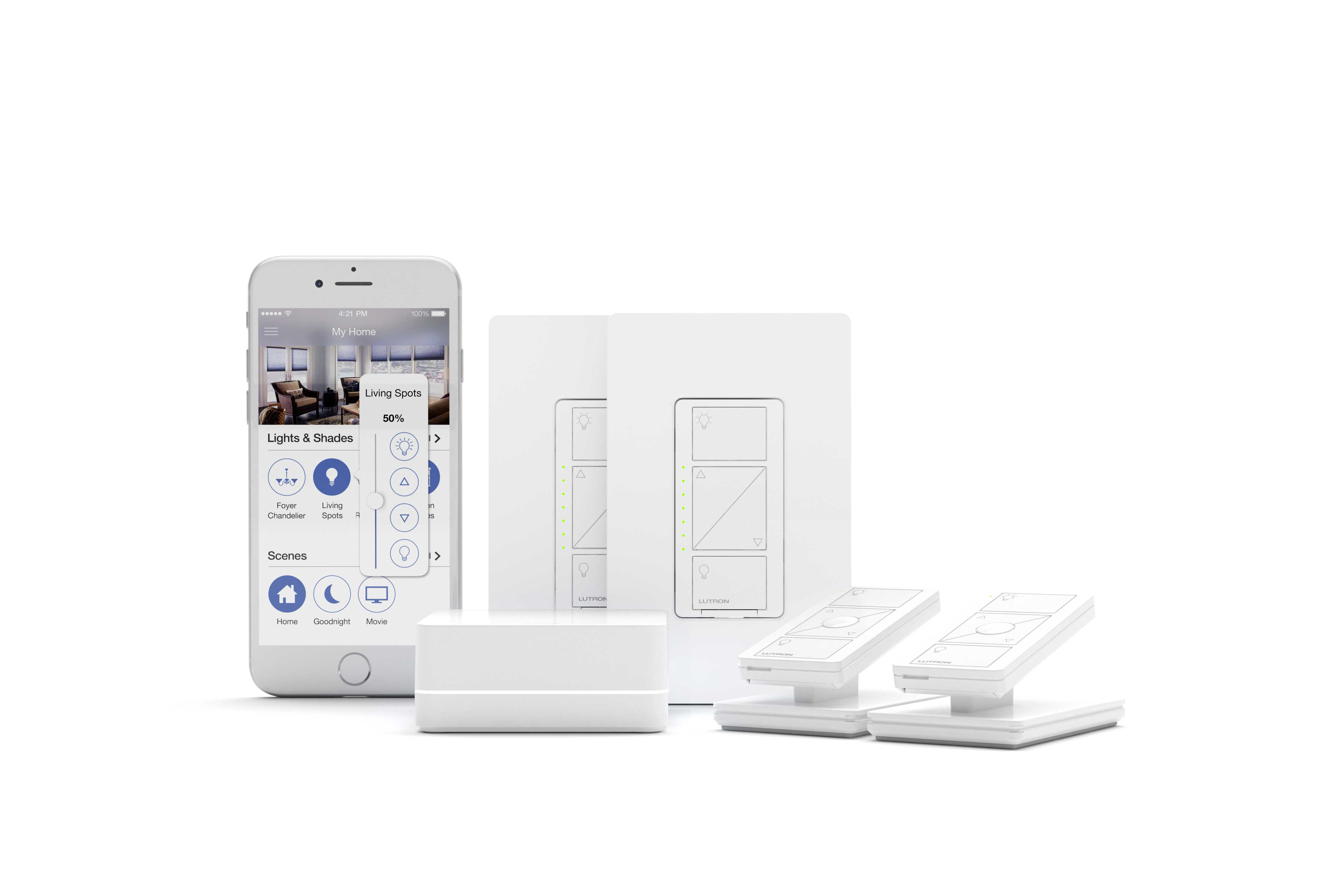 a product view of the Lutron Caseta family with the Caseta App for iphones