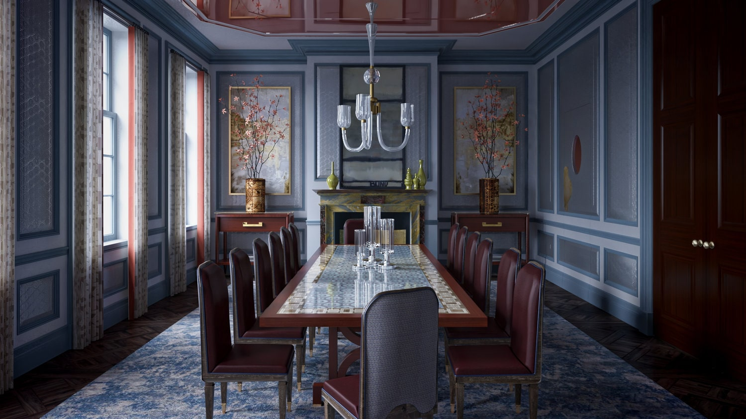 a 3d visualization of a fancy dining room with mahogany table and leather chairs