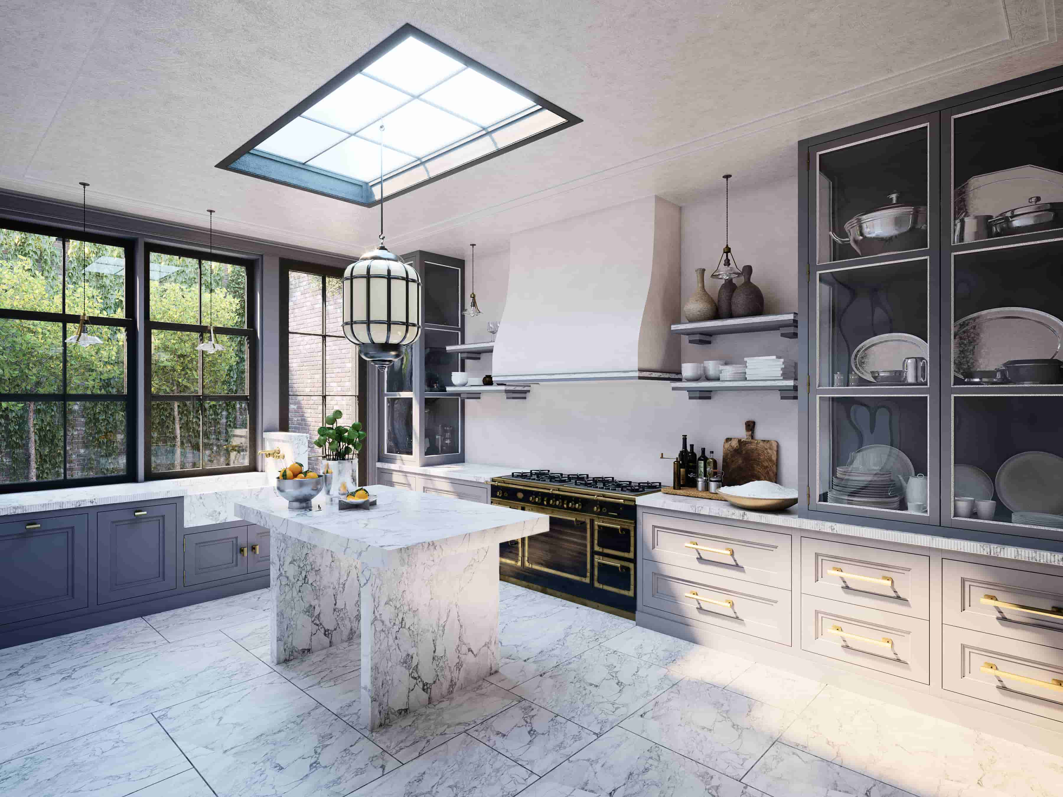 a 3d view of a fancy kitchen with marble counters
