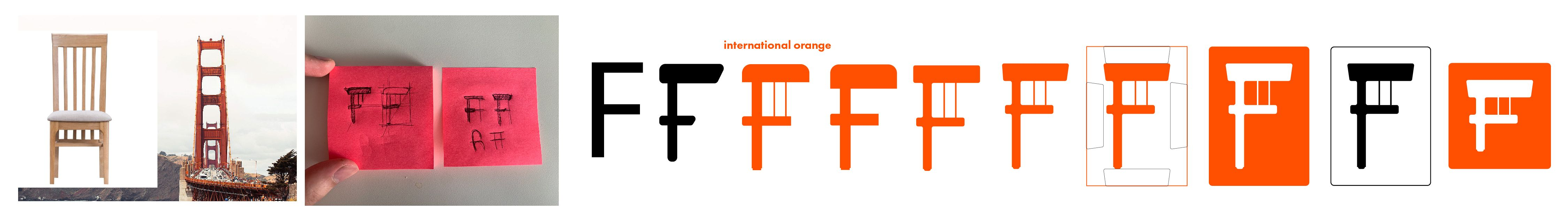 a jpeg of the logo iterations for Furnish Web App