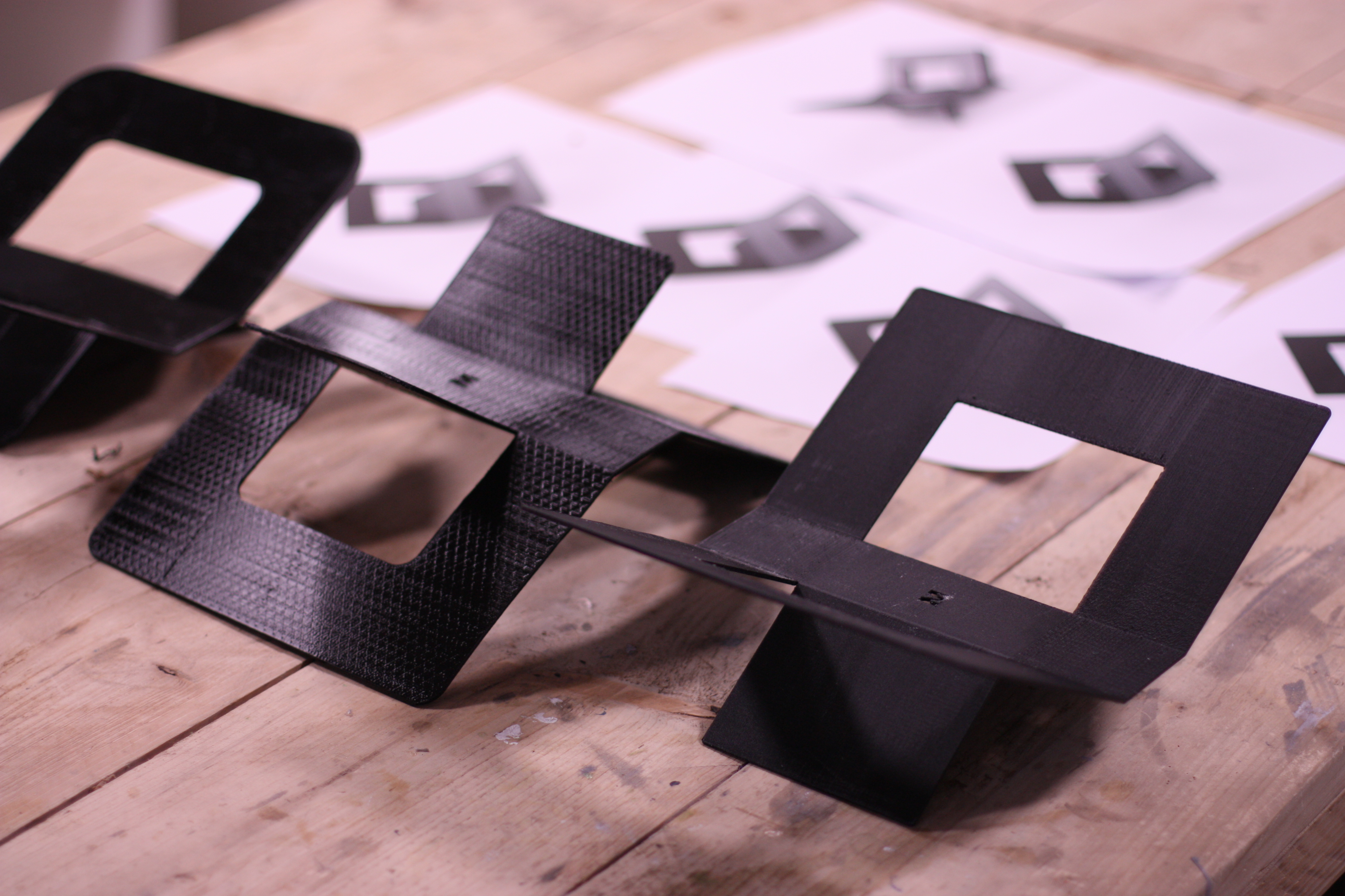 Rapid prototyping product design samples on a table.
