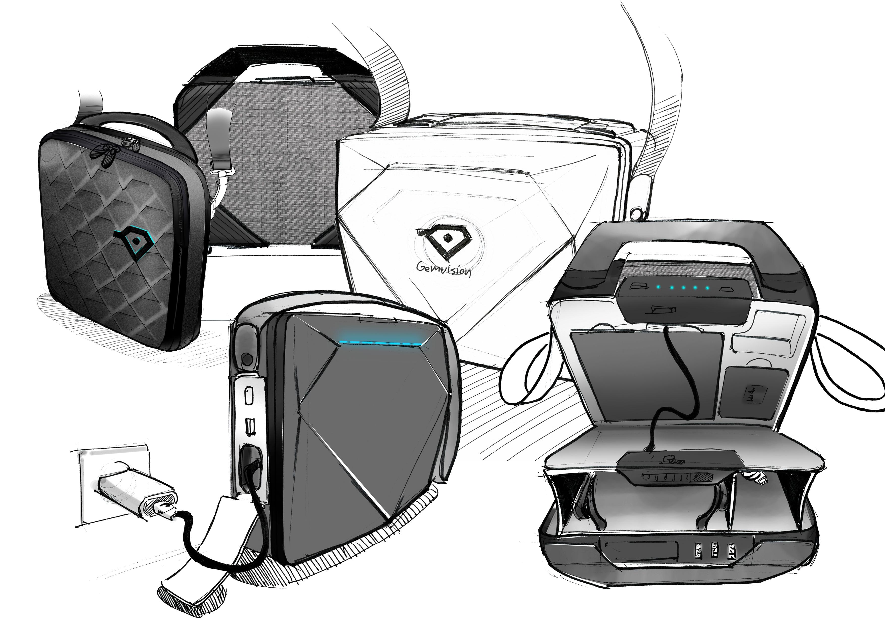 Gemvision Vuzix carry case design sketches