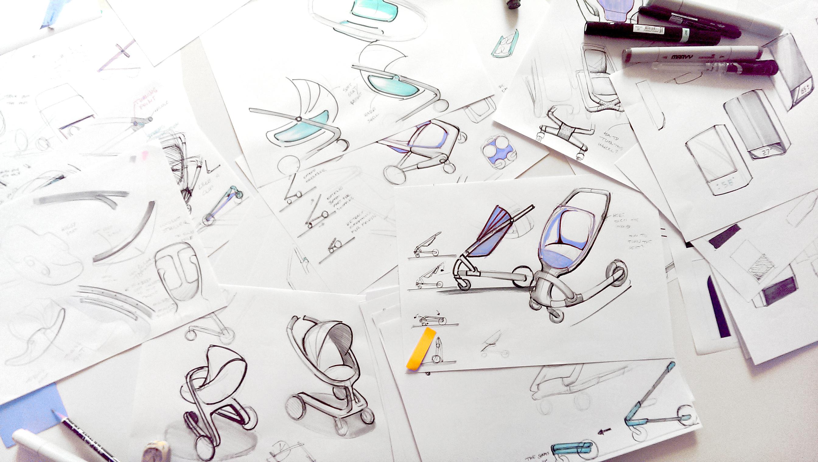 Sketches of stroller design