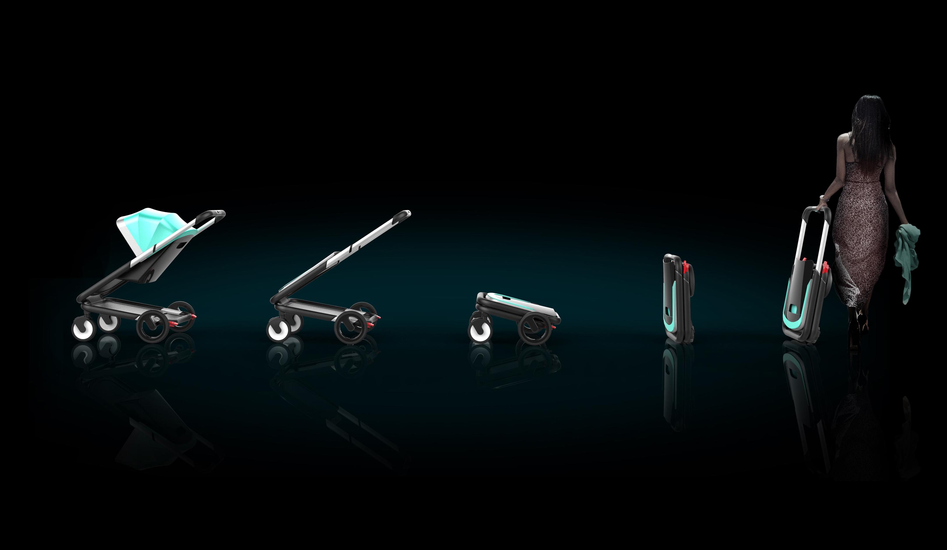 stroller folding rendering