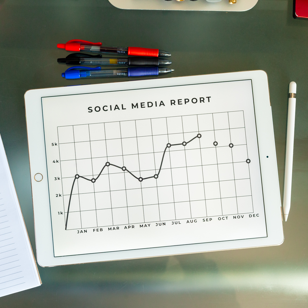 A graph showing social media analytics in a dashboard with an improvement being show,