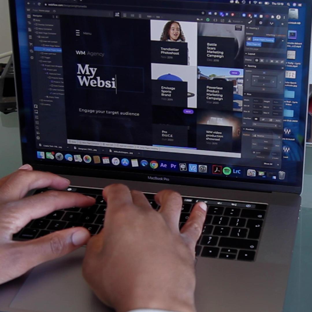 A e-commerce website being built by website developer