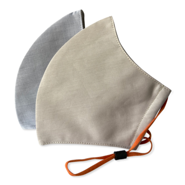 3-Layer Face Mask Tan + Light Grey