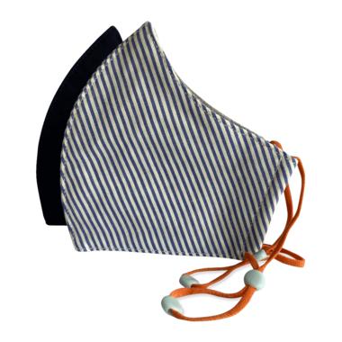3-Layer Kid's Organic Cotton Face Masks Navy & Blue Stripe