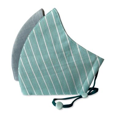 3-Layer Kid's Organic Cotton Face Masks Light Blue & Aqua Stripe