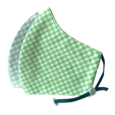 3-Layer Kid's Organic Cotton Face Masks Aqua Checker & Green Checker
