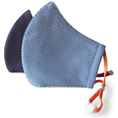 3-Layer Kid's Organic Cotton Face Mask Navy & Gingham