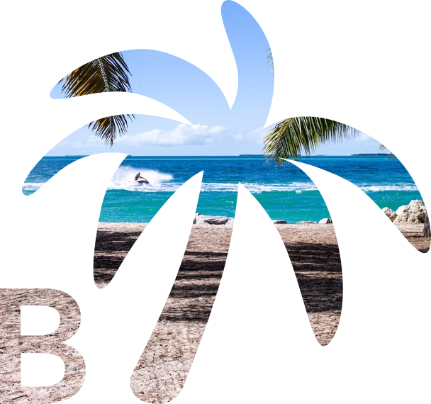 Letter B with palm tree