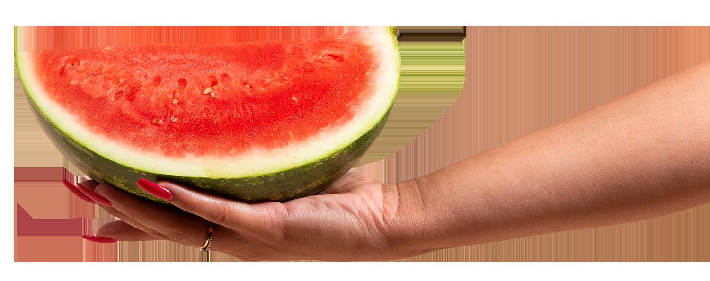 une main qui tient une pastèque