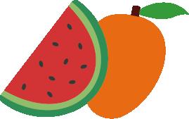 icones de mangue et de pastèque