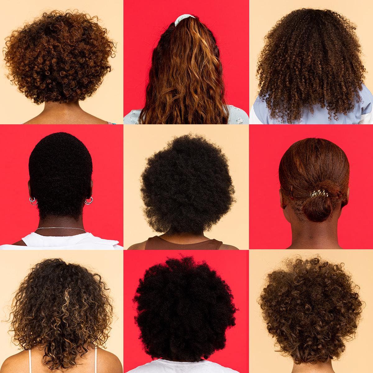 femmes de dos aux cheveux ondulés, bouclés et crépus