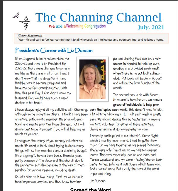 The Channing Channel - July 2021