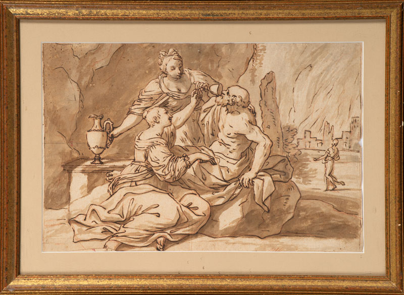 Il Guercino (after) - Lot and his daughters