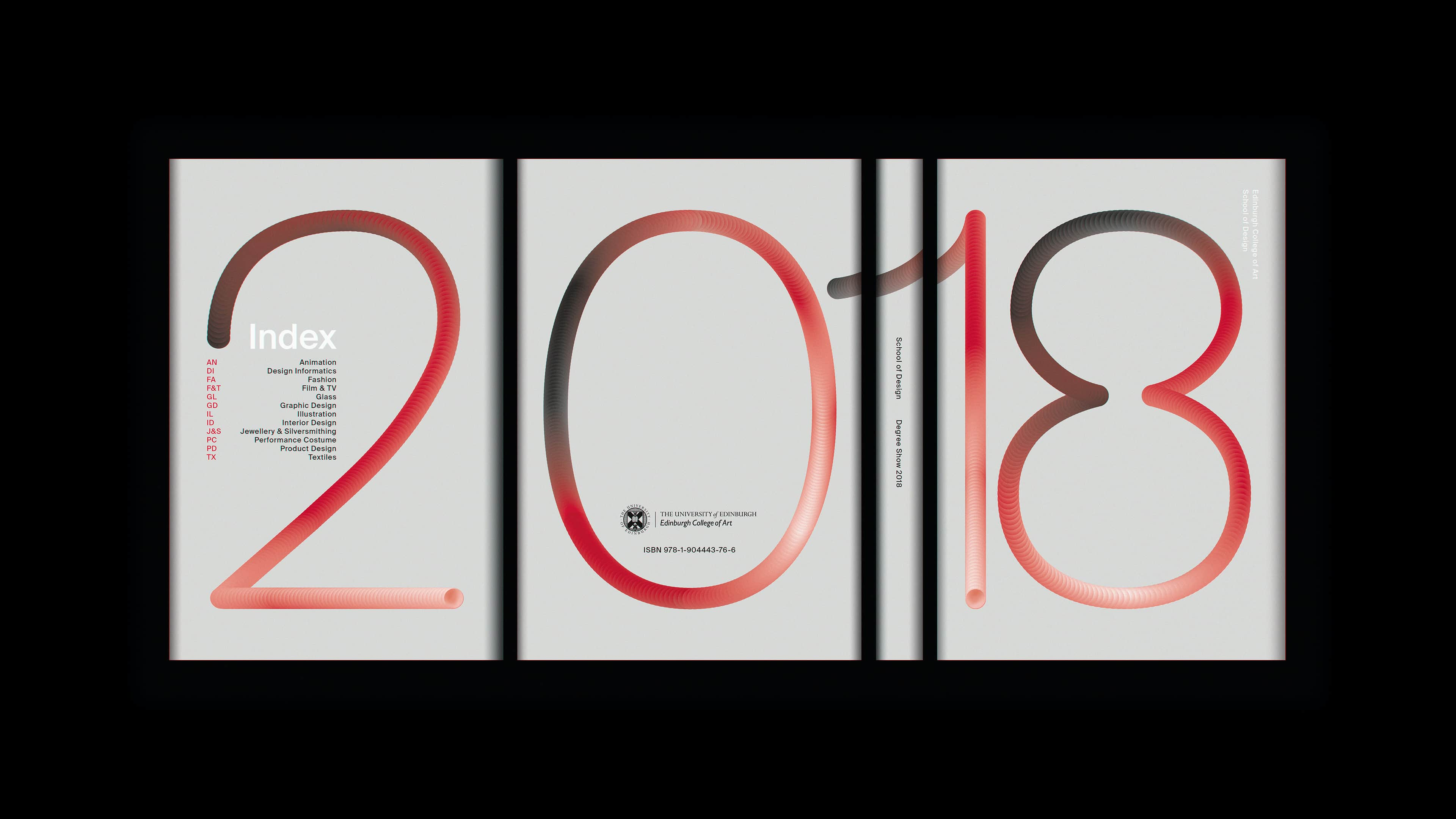 Print and exhibition design for the graduating 2018 student cohort from the Edinburgh College of Art's School of Design, incorporating show signage and a 260 page printed catalogue into a single celebration of artistic talent.