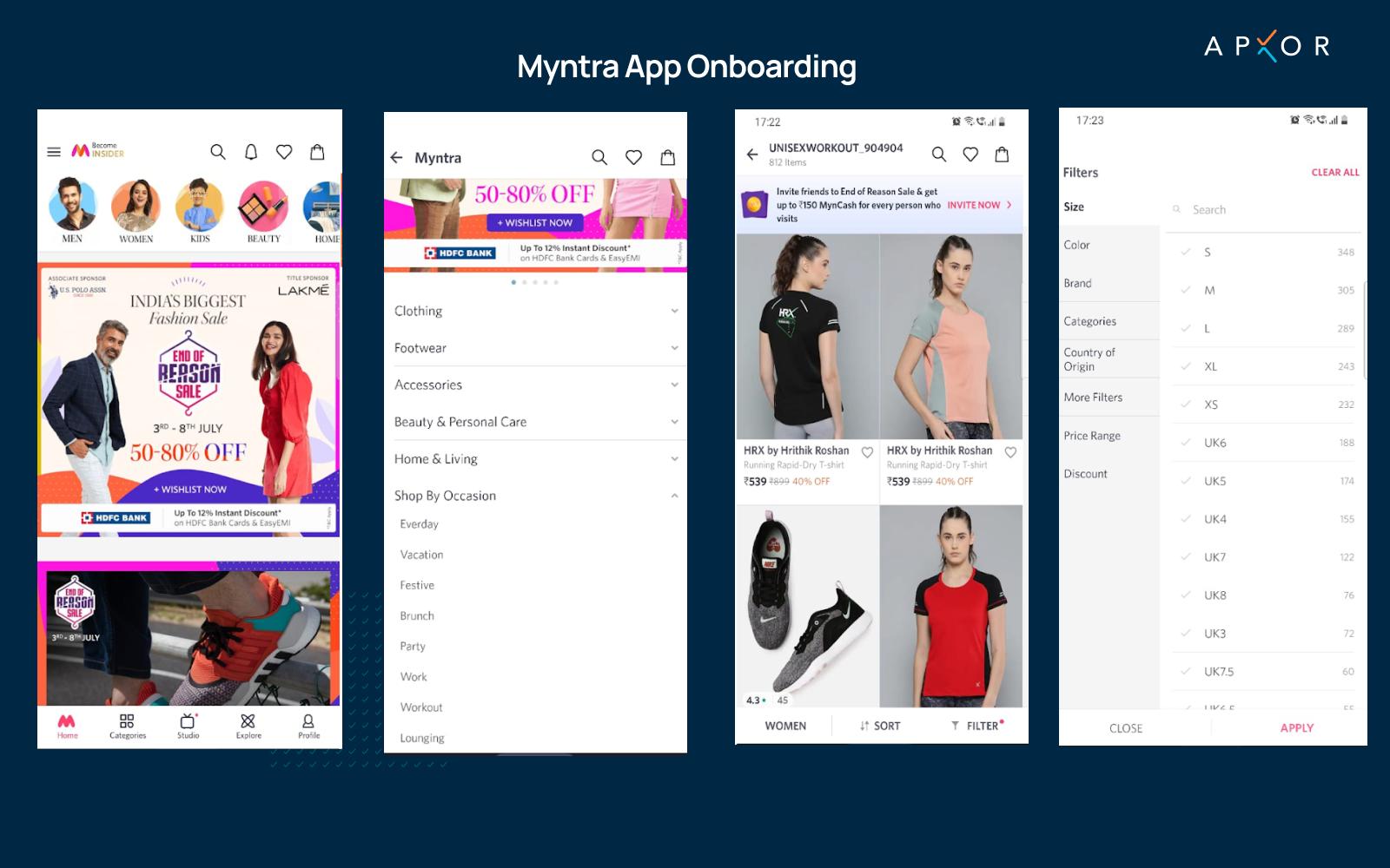 Myntra app onboarding flow image by Apxor