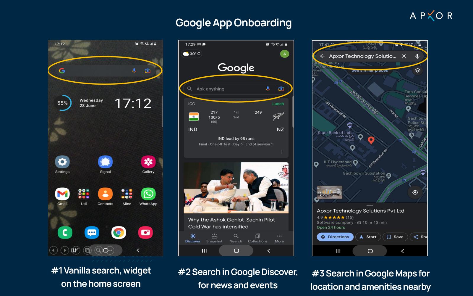 Google app onboarding flow image by Apxor