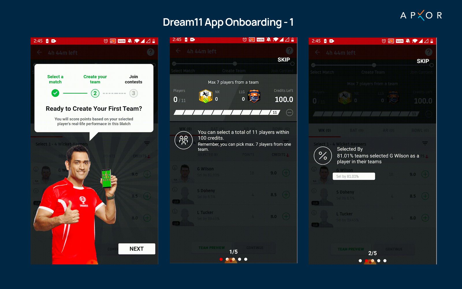Dream11 App Onboarding Images Apxor
