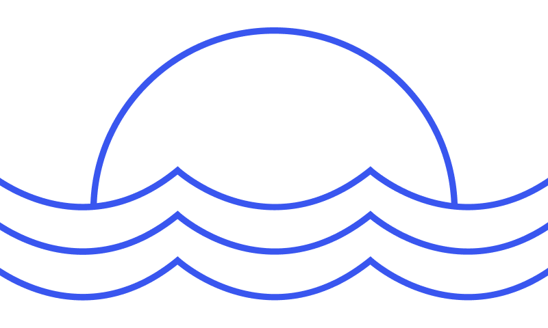 Taffrail sunrise over waves