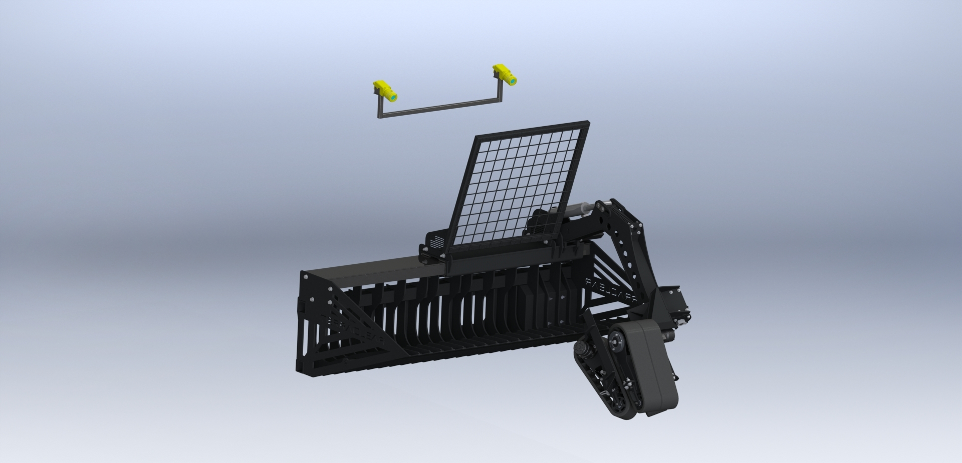 Rock picker implement with autopick