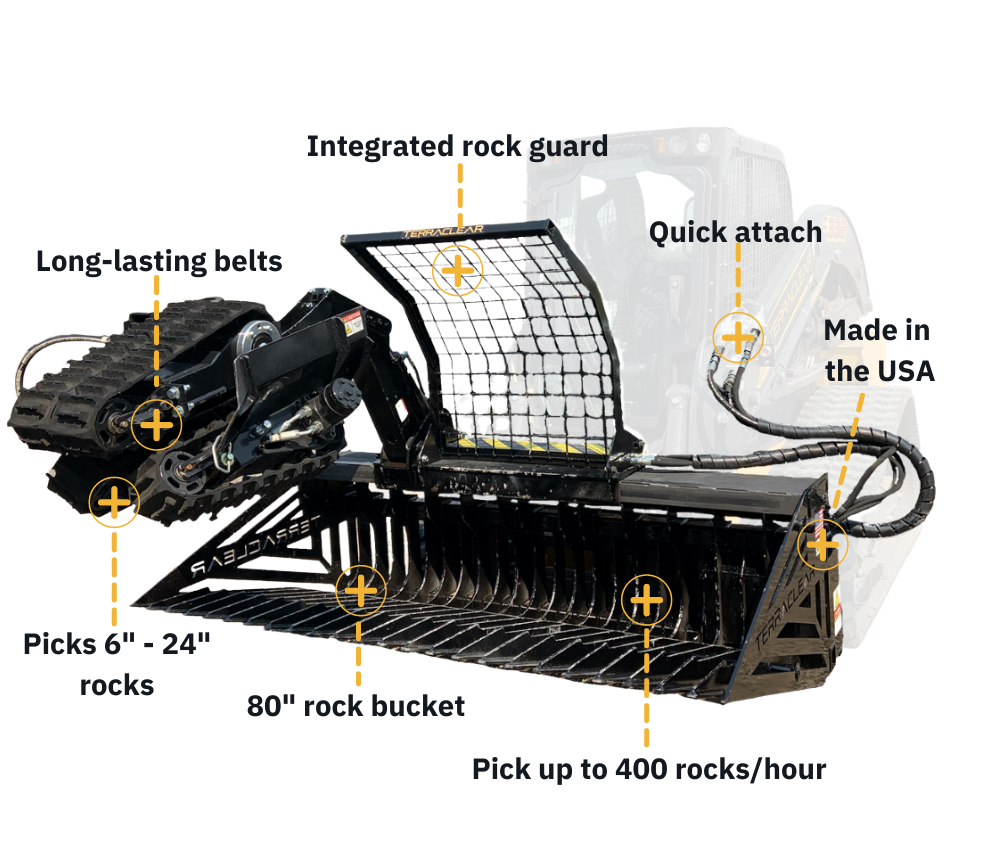 TerraClear Rock Picker features