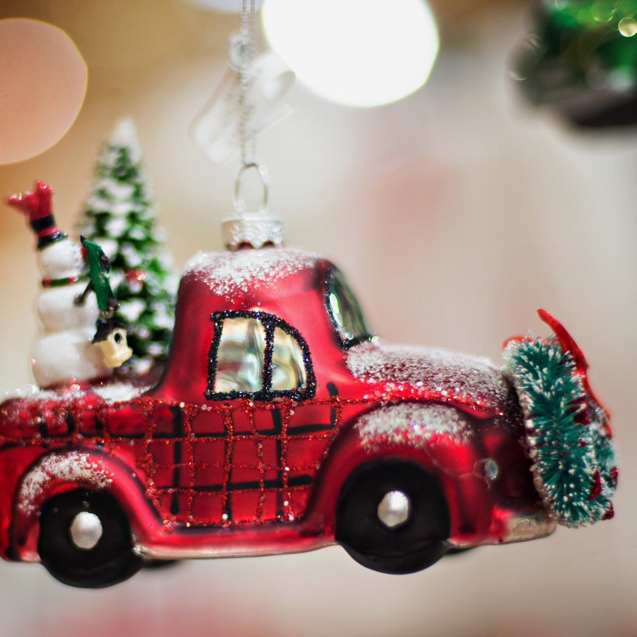 Little Red Pickup Truck with Christmas Tree and Snowmen in the back Ornament