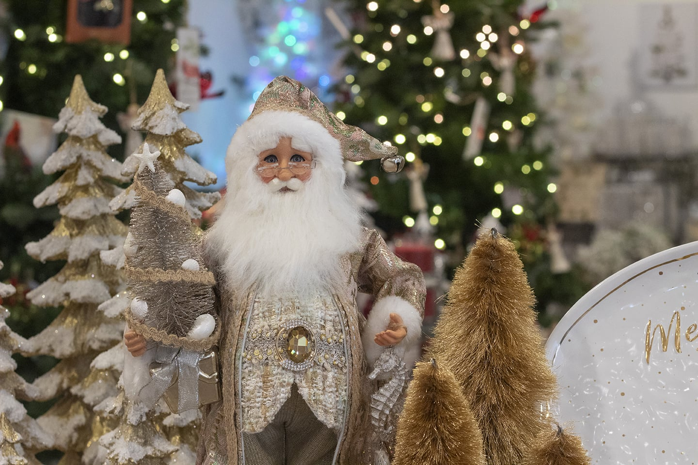 That Special Time of Year with Santa, Snow and Christmas Trees and Figurines