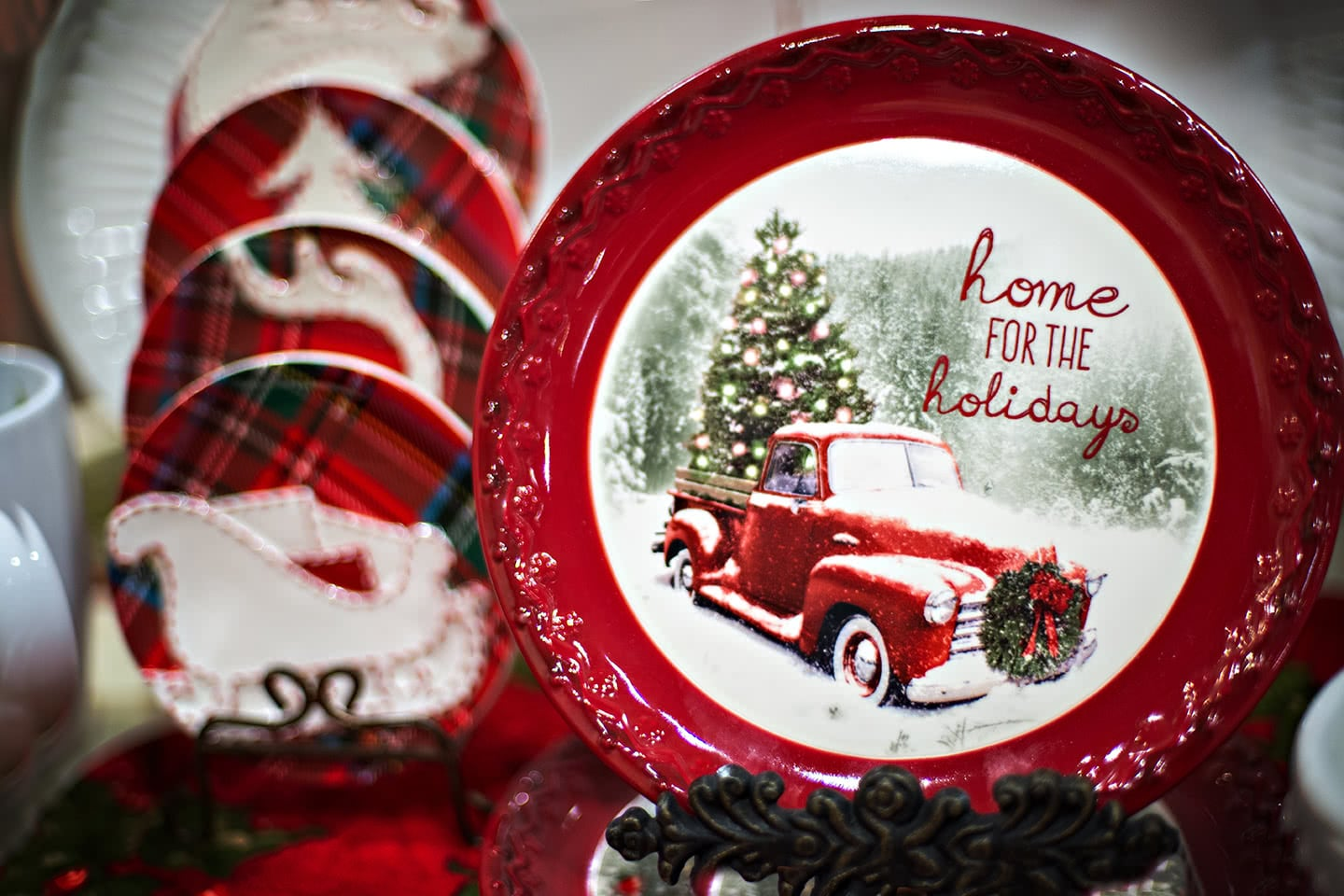 Red Pickup Trucks with Christmas Trees Holiday Dinnerware