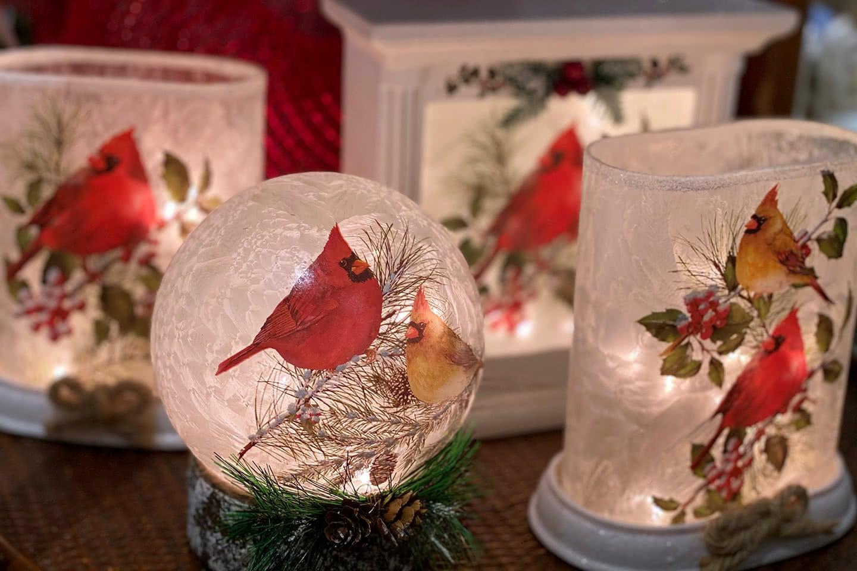 Winter Cardinals Home Decor and Lights