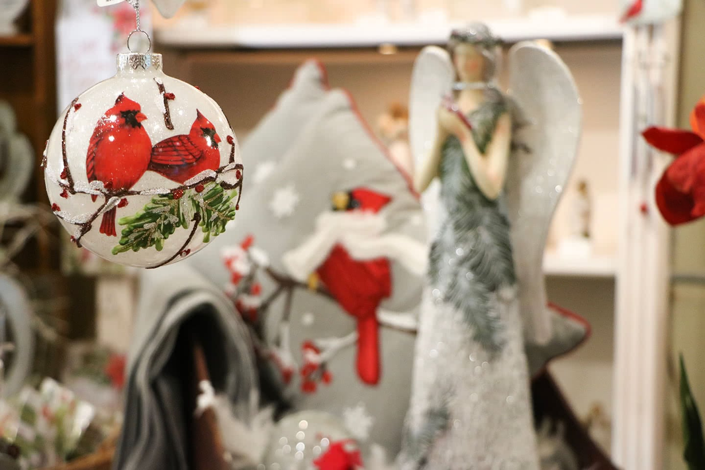Cardinal Ornaments and Angel Figurines for the Holidays