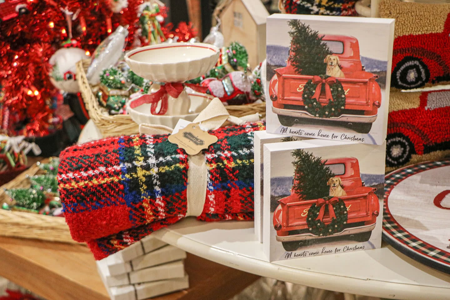 Red Pickup Trucks with Christmas Trees Wall Decor and Blankets