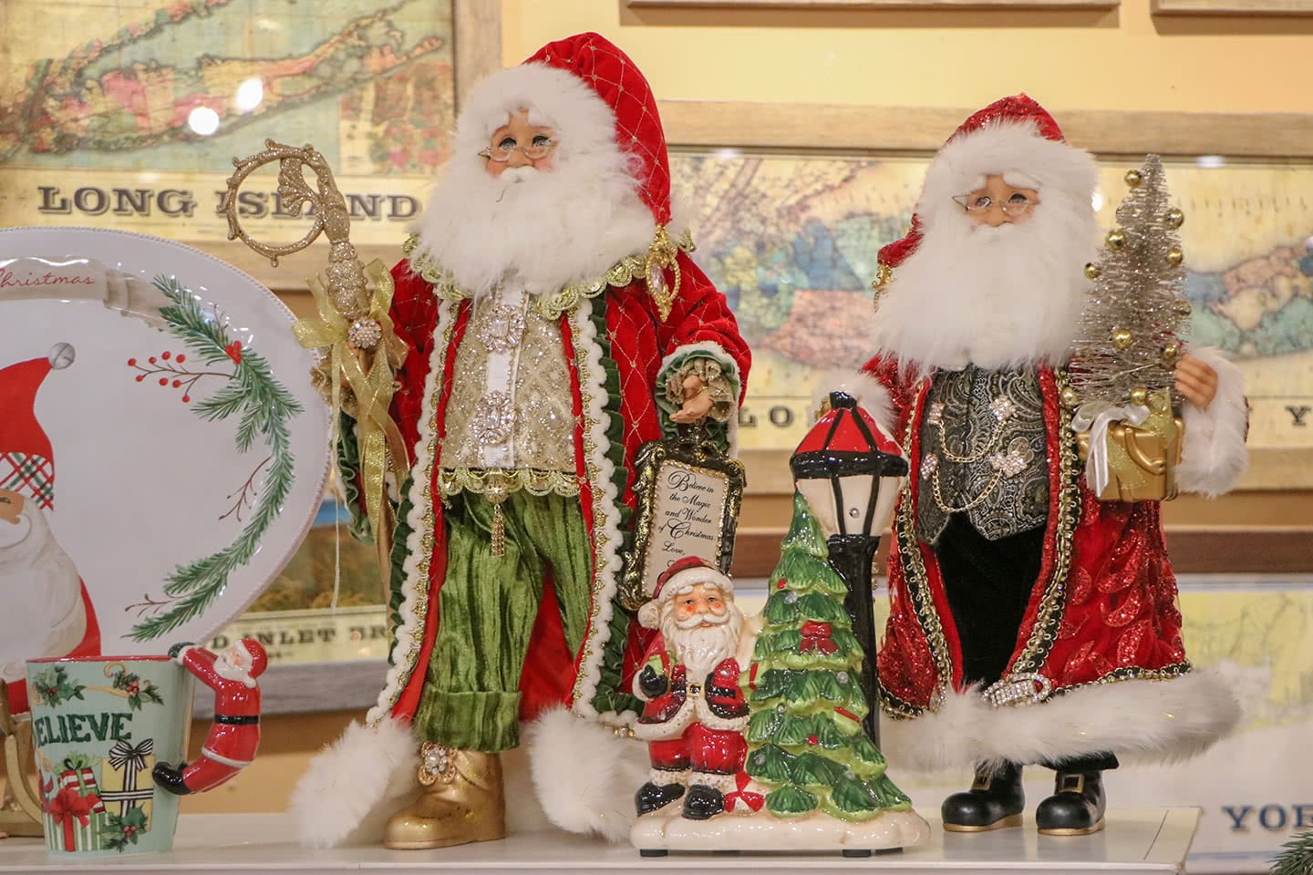 The Long Island Holidays is Claus For Celebration with Ole Fashion Santa Figurines