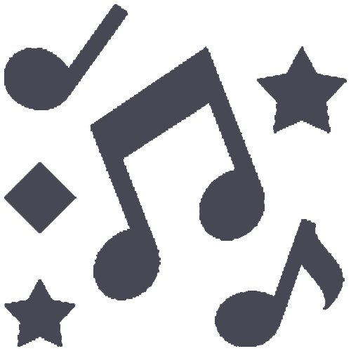 An Icon depicting music notes and shapes.