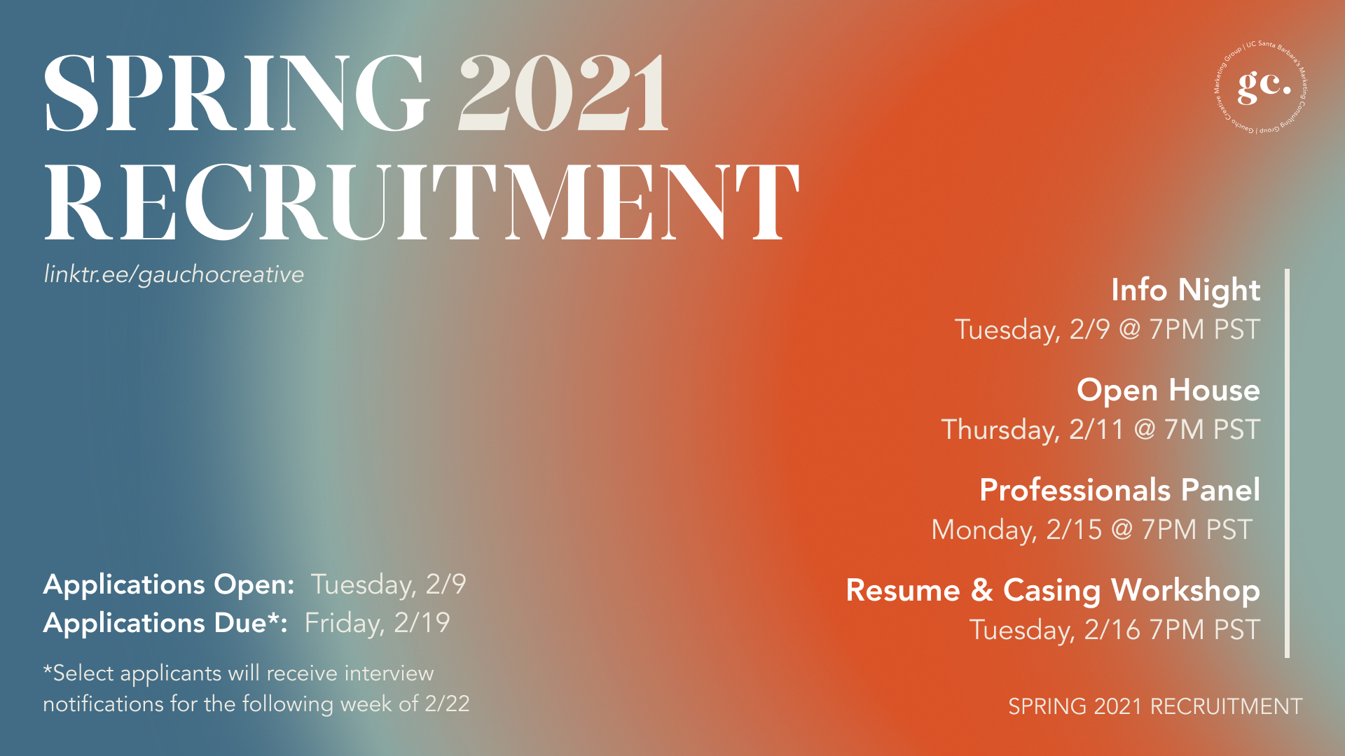 Gaucho Creative's Spring 2021 Recruitment banner with dates of events. Will be updated shortly with Fall events.