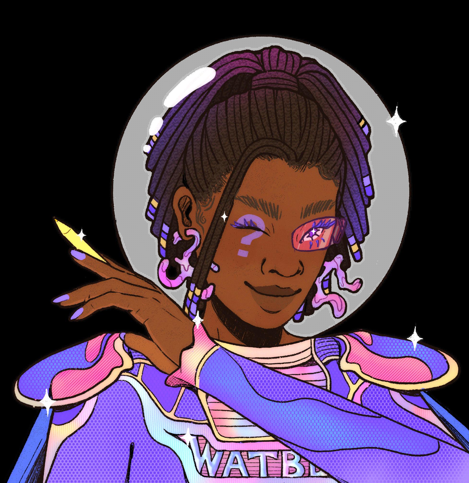 Colorful illustration of Black femme astronaut